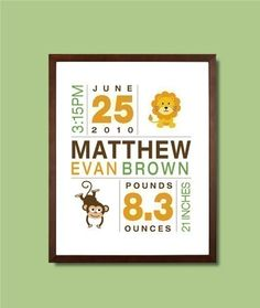 Birth Print Custom Nursery Art for Boys