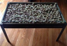 Wine Cork Table with Metal Legs and Glass top. The top is elevated by champagne corks. Super cute and super personal! Wine Cork Table, Champagne Corks, Loft Furniture, Hippie Life, Repurposed, Restoration, London, Legs, Metal