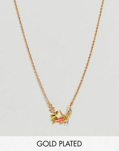 Image 1 of Bill Skinner Gold Plated Enamel Swallow Pendant Necklace