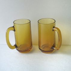 root beer mugs, amber barware glassware housewares, vintage beer mugs drinking glasses, bar accessories, glass mugs, gift idea, gift for her - pinned by pin4etsy.com