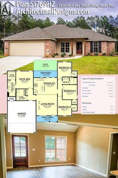 4-Bed Architectural Designs House Plan 51769HZ has a split bedroom layout, front and rear porches and gives you just over 1,500 square feet of heated living space. Available exclusively at Architectural Designs, there are more pictures online. Ready when you are. Where do YOU want to build?