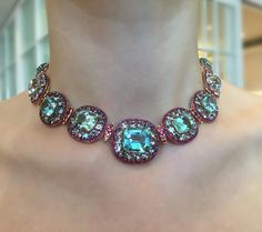 IVY New York. This intricate combination of the color of aquamarines and spinels brings out the true essence of our jewelry! The red color of the rubies and spinels provides an eye catching dimension to the necklace. Blue Zircon, Aquamarine Blue, Aqua Marine, Red Purple, Gems, Ruby Rings, Pendants, Pendant Necklace, Jewels