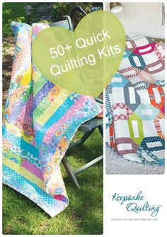 Short on time? Find a quilt that is easy and quick from browsing our collection of 50+ quilting quickly kits. All you need is a needle and thread to complete kits like this First Steps Quilt Kit and Franklin Street Kit.