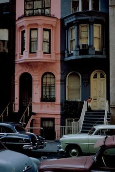 Pink house on the streets of New York City, circa 1953. New York City is the…