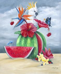 """""""Gone Troppo - oilpainting cockatoo on watermelon """" by Mia Laing. Paintings for Sale. Bluethumb - Online Art Gallery Buy Art Online, Cockatoo, Australian Artists, Paintings For Sale, Artist Art, Online Art Gallery, Great Artists, Collaboration, Oil On Canvas"""