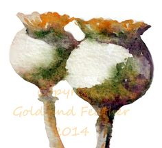 Poppy Seed Pods Fall Element Clipart by GoldAndFeather on Etsy (watercolour ideas)