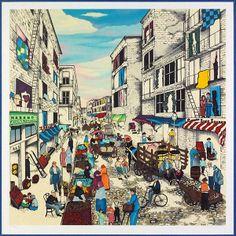 Linnea Pergola (AMERICAN, B. 1953) Mulberry Street : Lot 136-6093 #pergola #americanart #mulberrystreet #print