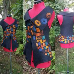 Check out this item in my Etsy shop https://www.etsy.com/listing/563123585/nuno-felted-vest-in-black-with-vibrant