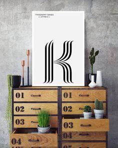 K Letter Print Modern Typography Art by NordicPrintStudio on Etsy