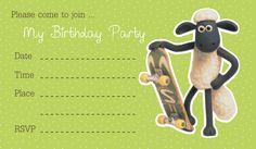 Shaun The Sheep Birthday Party Invitation Card Printable. The popular slapstick cartoon comedy, Shaun The Sheep, now present it on your children's birthday party.