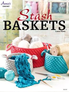 Use up your yarn stash to make some practical and pretty baskets that will help organize clutter in any room. Baskets are made holding 2 strands of worsted- #4