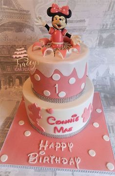 2 tier Mini Mouse explosion birthday cake