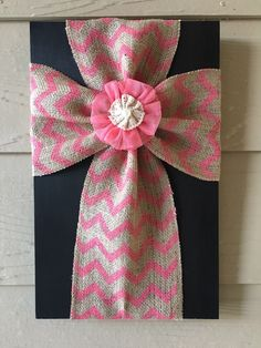 Items similar to Pink and Tan Chevron Burlap Cross with Pink Flower on Etsy Wood Block Crafts, Barn Wood Crafts, Wooden Crafts, Chevron Burlap, Burlap Fabric, Crosses Decor, Wood Crosses, Cross Wall Art, Burlap Cross