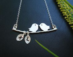 Kissing Love Birds Necklace Two Initial Pendant by MyQjewelry, $30.00