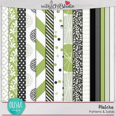 Matcha - Patterns & Solids from Ousia Studio. This Lovely digital scrapbooking kit will make your layouts pop.