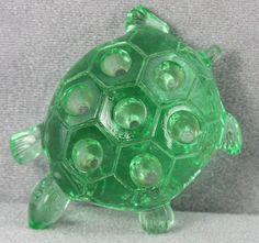 S Green Art Deco Glass Flower Arranger