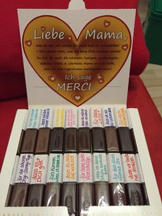 Muttertagsgeschenk: Merci, dass es dich gibt. DIY Mama, Geschenk, Merci, Danke, Packung, diy, gebastelt