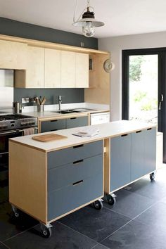 Furniture and Space – Bespoke Furniture & Interiors by Tandem, UK A designer plywood kitchen for a client in penryn. Features a multi functional island unit on castor wheels. Diy Apartment Decor, Apartment Kitchen, Kitchen Interior, Diy Cozinha, Kitchen Dining, Kitchen Decor, Kitchen Ideas, Kitchen Cabinetry, Kitchen Furniture