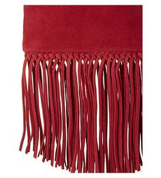 MAJE Fringed leather pouch (Framboise