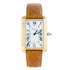 CARTIER Yellow Gold-Plated Stepped-Case Rectangular Wristwatch | 1stdibs.com
