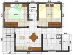 Planta de Casa com dois quartos pequenos