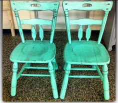 Chairs Green Rustic  by LauraDesignsShop on Etsy, $70.00