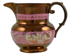 Lustre Jug with Pink Decor English Century Old Things, Things To Come, Color Themes, Tea Set, Luster, Tea Party, 19th Century, Art Decor, Pottery