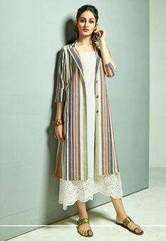 5e4a43b0f1b17f Off White Cambric Cotton Readymade Kurti With Jacket 163647