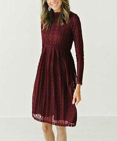Loving this Burgundy Jade Lace Midi Dress on #zulily! #zulilyfinds