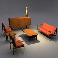 Danish Modern Livingroom Set 3D Model - 3D Model