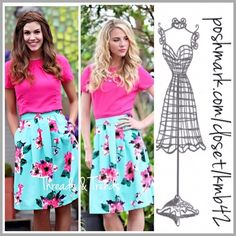 """Stunning Floral Midi Skirt Stunning high quality midi skirt in fabulous rich colors of turquoise and pink. Elastic in back panel waistband for a perfect fit. zipper closure and pockets . Made of a thick medium weight high quality poly/blend. Size XL waist 36"""" unstretched, length 24"""". Pair with black or pink tops Threads & Trends Skirts Midi"""