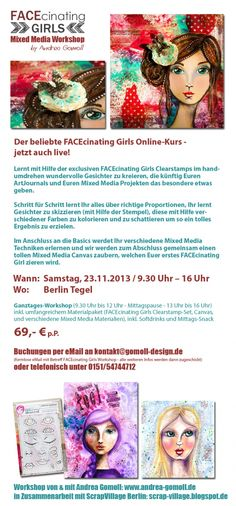 FACEcinating Girls Mixed Media Workshop - live am 23.11.2013 in Berlin - ich freu mich auf Euch!