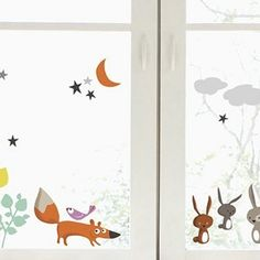 Adorable woodland creature window decals.