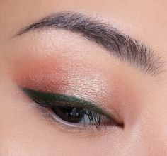 Simple warm tone with olive green eyeliner // @beautybyrah