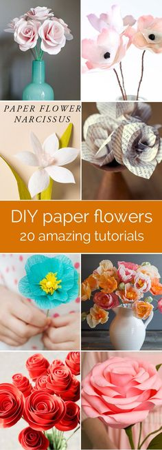 amazing collection of DIY paper flower tutorials - these look so real! perfect for weddings, parties, or just home decor. all with step by step tutorials!