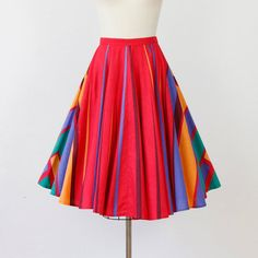 Full Skirt Red Rainbow Stripe Triangle by salvagelife on Etsy, $48.00