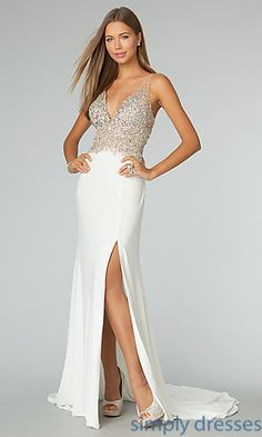 f1aa4b86e82 Beaded-Illusion Long Sleeveless JVN by Jovani Dress. White GownsDress  PromProm ...