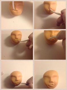 Little face tutorial - CakesDecor 2 Fondant People Tutorial, Fondant Figures Tutorial, Fondant Toppers, Cake Tutorial, Fondant Cakes, Polymer Clay People, Polymer Clay Dolls, Wilton Cake Decorating, Cake Decorating Tutorials