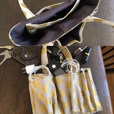 Changing the bag. I took the contents of my bag out of the bag. This bag in bag is very convenient.  bag in bag :  MAME FUKU  handmade 鞄を変える時も便利!失くしモノも無くなる?