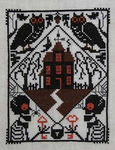 Whoo's There?-whoo's there, prairie schooler, cross stitch, halloween