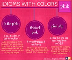 idioms with colours: pink English For Beginners, English Tips, English Idioms, English Phrases, Learn English, English Language, English Class, Language School, Classroom Language