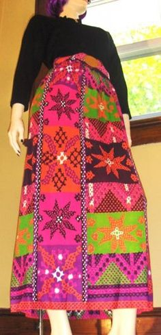 Psychedelic 60s Swanky MOD NEON Hippie Girl Maxi Dress       ~GET IT NOW~ At KoolcatVintage
