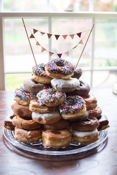 donut pyramid dessert display found on PartySlate.
