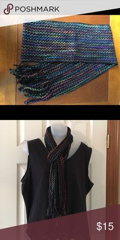 """Beautiful colorful scarf. Amazing colors of the rainbow. No tags on it, but thinking its a wool and cotton blend for cooler days. 62"""" scarf with an additional 4"""" fringe. Non-smoking home. Accessories Scarves & Wraps"""