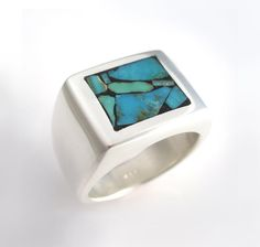 Mens Heavy Silver Ring with Turquoise Mosaic.