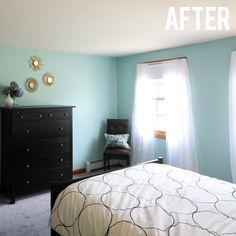 Before and After: Guest Bedroom Makeover with Sherwin Williams Watery