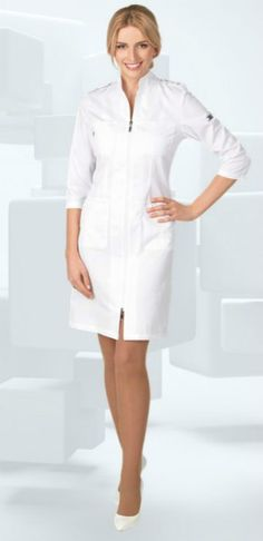 İlgili resim Spa Uniform, Scrubs Uniform, Nurse Scrubs, Nursing Dress, Nursing Clothes, Professional Nurse, Fashion Sewing, Unisex, White Dress