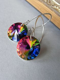 Earrings - vintage Swarovski crystal, sterling silver - Arcenciel