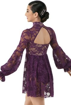 Weissman® | Lace Long-Sleeved Knee-Length Dress