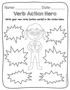 Action heroes for action verbs. (Could create a superhero
